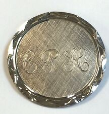 Monogram Name Plate Pin Brooch Signed Russel Sterling Silver Round