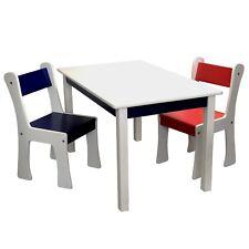 Kindersitzgruppe Holz weiß Kindertisch + 2x Kinderstuhl Sitzgruppe MDF massiv