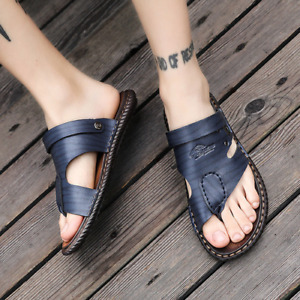 Summer Men's Slip-On Sandals Faux-Leather Soft Sole Casual Sandals Comfort Chic