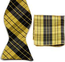 BQ064 Yellow Black Unique Tuxedo Bowtie Men's Self Bow Tie+ Match HandkerchiefT