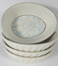 Set of 4 Williams Sonoma Damask Ramekin EASTER Egg Shaped Basket Weave NWOT RARE