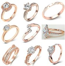 Damen Ring Verlobungsring roségold elegant Kristall Zirkonia Finger Schmuck