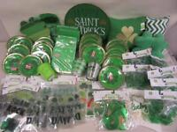 74 Pc St Patrick's Day Party Decorations Lot Pillows Lights Plates Window Clings