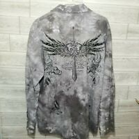 Eighty Eight Men's Graphic Cross Shirt Long Sleeve Size XXL Textured Goth Style
