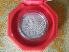 1993 Singapore Lunar Rooster $10 2oz Silver Piedfort Proof Coin