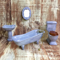 1:12 Dollhouse miniature blue porcelain bathroom set toilet basin bathtub YBF