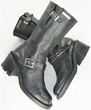 "womens harley davidson leather boots 6 black zip up mid calf 2.5"" heel 81333"