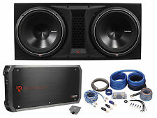 """Rockford Fosgate P3-2X12 Dual 12"""" 2400W Loaded Vented Subwoofer Box+Amp+Wire Kit"""