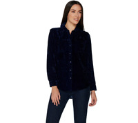 Denim & Co. Crushed Velvet Long Sleeve Button Front Collared Shirt Blue Size L