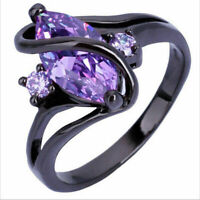 "10KT Black Gold Wedding Ring Jewelry Women Marquise Cut Pink Sapphire ""S"" Shape"