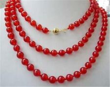 "8mm round Natural red Ruby necklace 36""14k"
