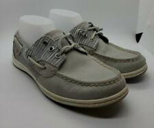 Sperry Top Sider Women's Size 8.5M Songfish Gray Leather Boat Shoes with Stripes
