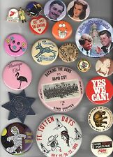 20 OLD  pin Advertising pinback NOSTALGIA Politics Entertainment HUMOR  etc...