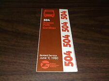 June 1980 Chicago Rta Route 504 Raynor Park Bus Schedule