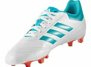 adidas Women's Goletto VI FG Soccer Cleats BY2774 White/Blue/Coral Sz 9 US