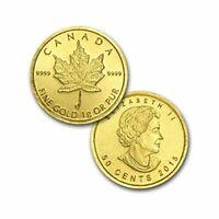 2015 1.0 Gramos 999.9 24k Oro Canadiense Maple 50 Centavos Barra Moneda