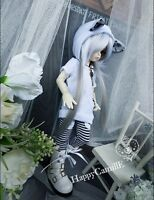 Lovely 1/4  BJD Doll's 2pcs Clothes Cute Cat Ear Hoodies Coat + Stripe Trouser