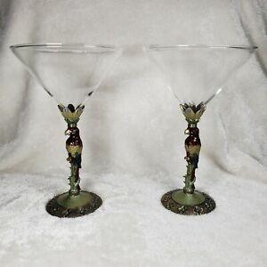 2 Unique Martini Glasses Metal Parrot Stem Enamel with Crystal Rhinestone Bronze