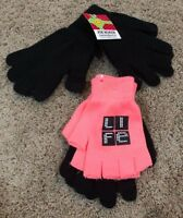 Girls Black Coral Joe Boxer Texting Gloves 4 Pair
