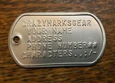 Embossed DOG TAG TAGS USA MADE shipped STAINLESS STEEL MATTE by Military Veteran