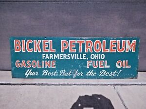 Original vintage BICKEL PETROLEUM-GASOLINE-FUEL OIL metal sign FARMERSVILLE,OHIO