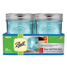 Regular Mouth Half Pint Blue Mason Canning Jar Elite Collection 4 Pack 8Oz Glass