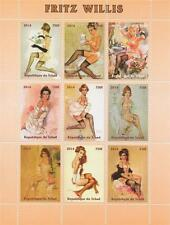 FRITZ WILLIS NUDE NAKED ART SEXY LADY TOPLESS WOMAN 2014 MNH STAMP SHEET