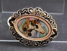 """NWOT Horse With Feathers In Mane Belt Buckle Silver Tone Oxidation Design 4"""" G7"""