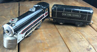 Marx 0-4-0 Tinplate Steam Locomotive Engine Postwar O Scale + New York Car