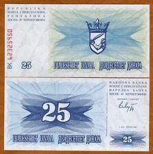 Bosnia-Herzegovina, 25 Dinara, 1992, P-11, UNC