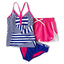Swimsuit  ZeroXposur Striped Patchwork 3-pc. Swimsuit - Medium (8) - Girls