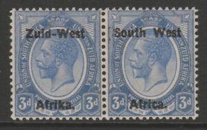SWA MINT GV 1923 3d ultramarine overprint pair setting I sg4