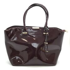 Victoria Beckham Handbag Women Burgundy Patent Tote Lined Gold Casual  281229