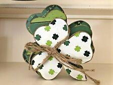 Irish St. Patrick's Day 3 Stacked Shamrock Clover Table Shelf Sitter Decor White