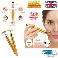 24K Gold Beauty Bar Facial Roller Massage Vibration Skincare Lifting Derma UK