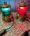 Vintage DOCK PILING LIGHTS BY NELSON ELECTRIC Co  Red & Green Nautical Boat Sea