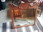 """Perfect size Oak Beveled Glass Wall Mirror~ Pa.Amish 1940s Hand carved 29 x27""""H"""