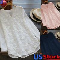Women V Neck Long Sleeve Long Tops Ladies Loose Cotton Linen T-Shirt Blouse Tee