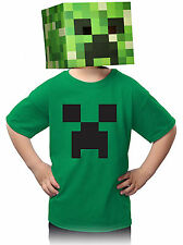 Authentic Minecraft Kids Creeper T Shirt 100% Cotton, Irish Green Size Large
