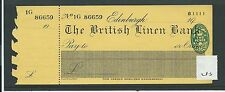 "WBC. - assegno-CH285 - -1945 inutilizzati-British Biancheria Banca, Edimburgo + C ""FOIL"