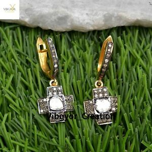 Polki Pave Diamond Cross Earrings 925 Solid Silver Gold Plated Jewelry For Her