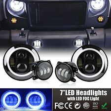 """7"""" 90W PHILIPS LED Headlights Halo With Fog Light Blue Ring Combo For 07-16 Jeep"""