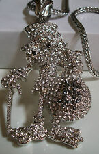 "Mens Silver Finish  CZ Man WIth Money Bag Pendant w/ 36"" Franco Chain"