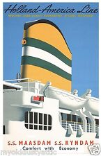 Holland America Line SS Maasdam Poster 12 x 18