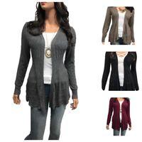 Women Cardigan Long Sleeve Solid Open Front Sweater PLUS SIZE (1XL-3XL)