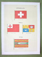 FLAGS Switzerland, Tonga & Tunis - 1899 Color Litho Print