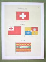 FLAGS Switzerland, Tonga & Tunis - 1899 Color Litho Print