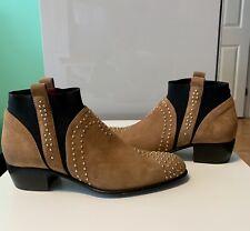 CESARE PACIOTTI Suede Studded Boots, 100% Authentic, SZ 38