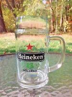 """Vtg Heineken Red Star Beer 20 Oz .5L Glass Mug 6"""" Stein Tankard Holland Barware"""