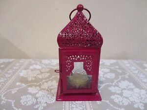 """Hanging Red Tea Light Candle Holder, Moroccan Style, India  6 3/4"""" Tall (1pc)"""